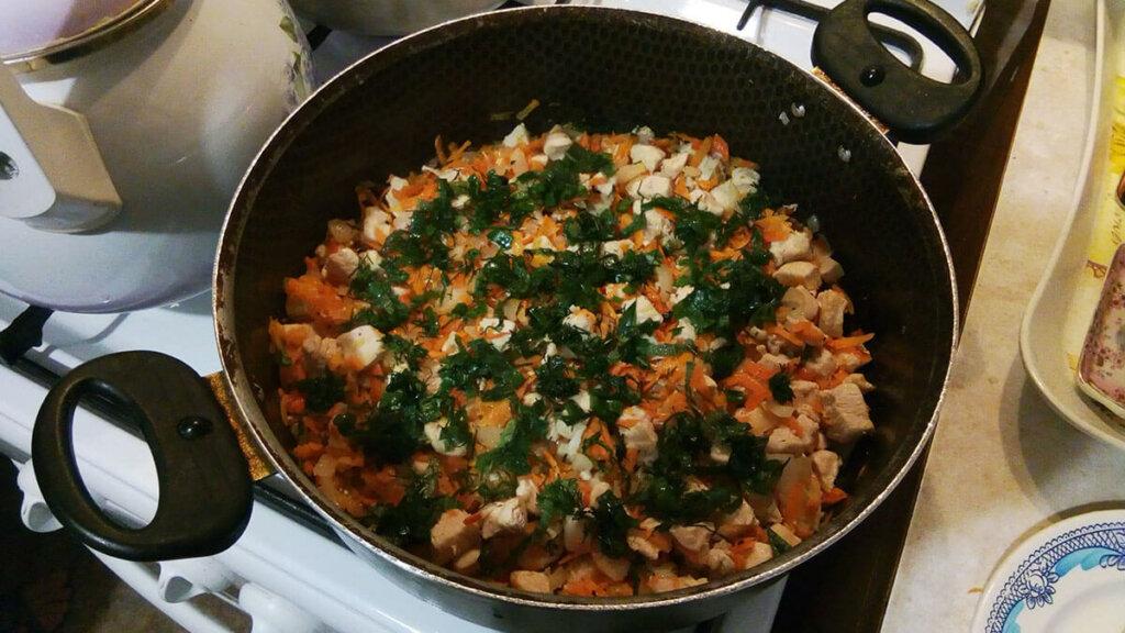 Обжарка мяса с овощами