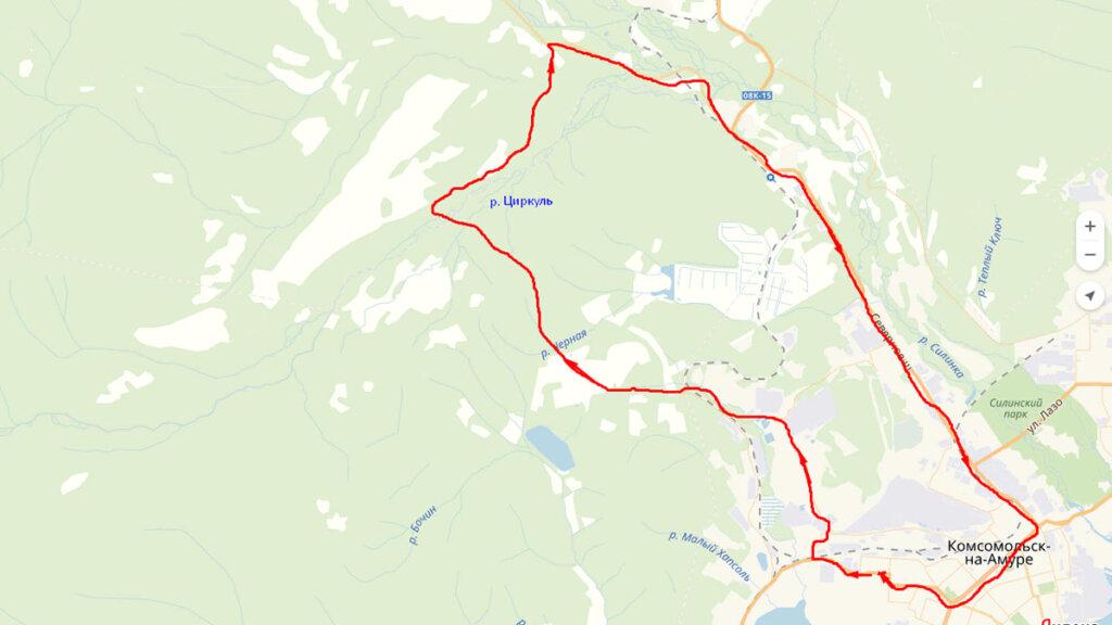 Карта поездки на реку Циркуль
