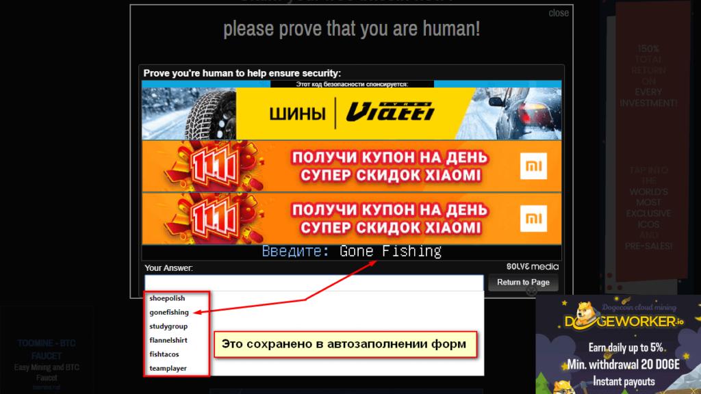 Ввод капчи на стороннем сайте